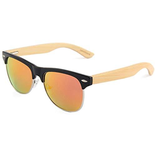 Half Frame Fashion Polarisierte Bambusbrille für Männer und Frauen mit bunten Gläsern Polarisierte Brille (Farbe: ROT)