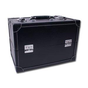Prym Couture/Needlework trunk-style extensible étui à charnière avec étiquette libre-service et valise en métal fermoirs, en cuir synthétique, noir, Taille L