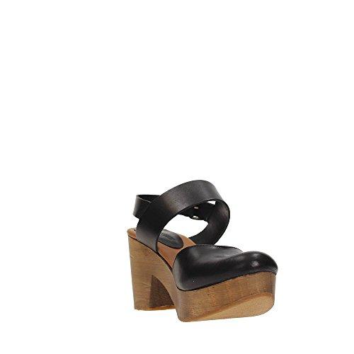Zoccolo Lumberjack Vega per donna in pelle nera con fondo in vero legno Black