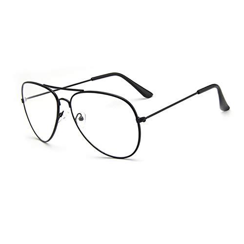 Aviator Brille Ohne Sehstärke für Herren Damen Pilotenbrille Metallgestell Klare Linse Dekobrille...