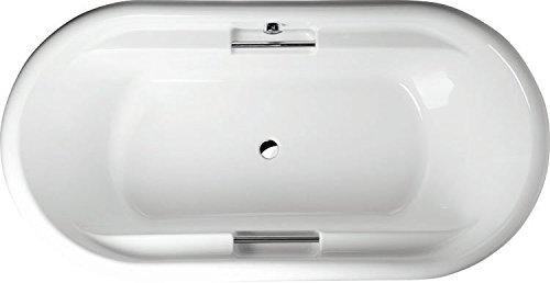 Oval-Badewanne Tosca 190 x 97 cm weiß Acryl Komplettset mit Wannenträger und Ablaufgarnitur
