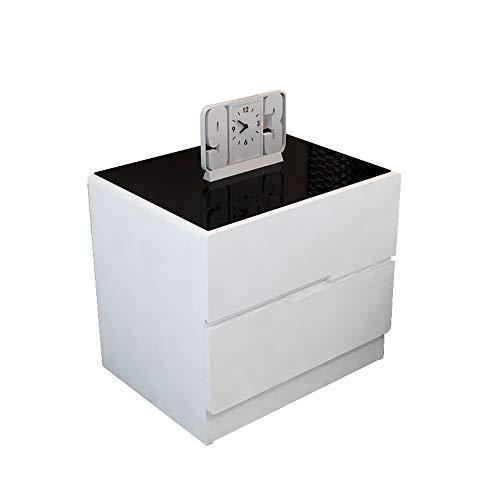 2 Schublade Nachttisch Holz-finish (XCJ Nachtschrank,Nachttisch Weiß, Nachttisch Mit 2 Schubladen - Nachttisch Aus Holz Konsolentisch Kommode Schlafzimmer Nachttisch (Color : Black, Size : 40CM))