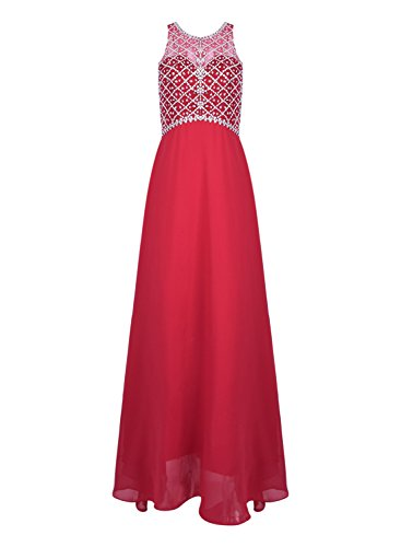 Azbro Women's Sleeveless Rhinestone Bridesmaid Chiffon Prom Dress Rose Purple