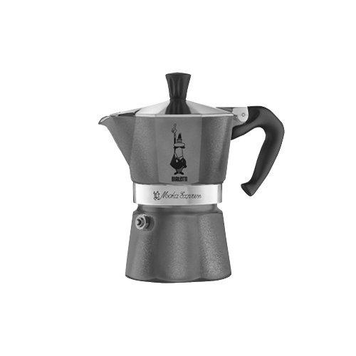 Bialetti Espressokocher Moka Emotion für 1 Tasse in grau, Aluminium, 30 x 20 x 15 cm