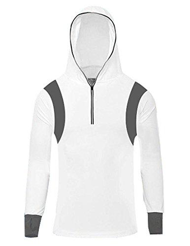 Nidicus Herren Sport Langarm Radfahren Sonnenschutz Elastische Haut Hoodie Jersey - Weiß - Mittel -