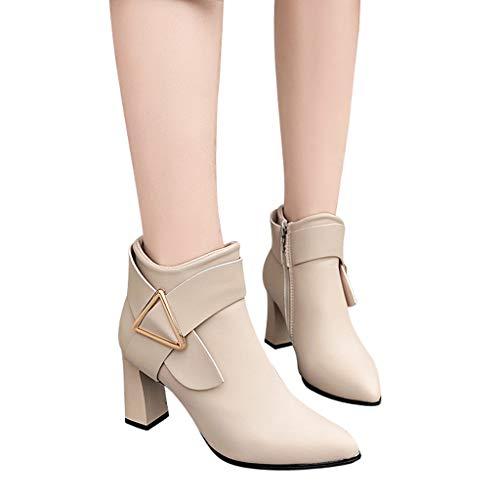 TianWlio Frauen Herbst Winter Stiefel Schuhe Stiefeletten Boots Stiefel Winter Einfarbig High Heel Leder Stiefel Reißverschluss Stiefel Runde Zehe Schuhe Beige 38