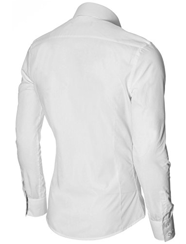 MODERNO - Casual Slim Fit Manches Longues Chemise Homme (MPSF301) MOD1413LS-Blanc