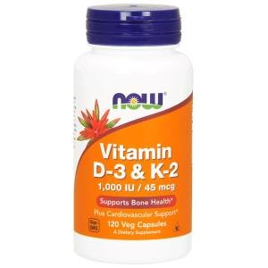 Now Foods, Vitamin D-3 & K-2, 1000 IU / 45 mcg, 120Vcaps