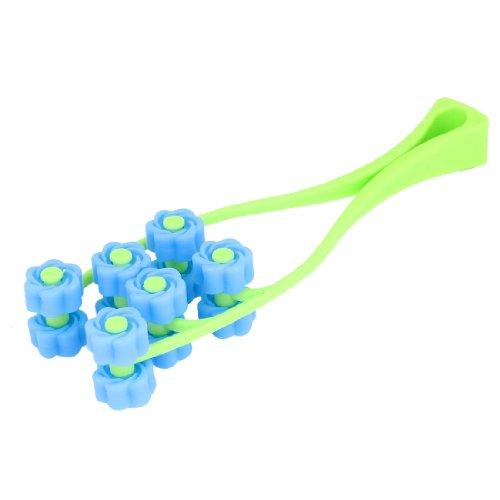 sourcingmap® Hand-werkzeug Blau Gelb-grün Plastik 12 Rollen Roller Gesichts-massagegerät