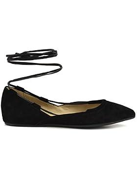 CAFè NOIR ED506 blu scarpa donna ballerina schiava laccio pelle punta 40