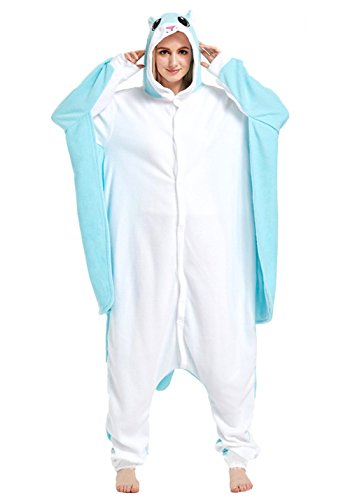 Honeystore Adult Pyjama Cosplay Tier Onesie Body Nachtwäsche Kleid overall Animal Sleepwear Erwachsene Blau (Kostüm Halloween Street Cammy Fighter)