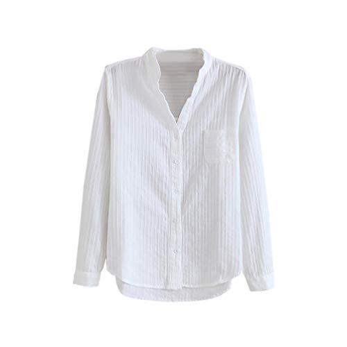 Quaan beiläufig Frau V-Ausschnitt Slim-Fit Baumwolle Weiß Bodenbildung Lange Ärmel Hemd Oberteile Baumwolle Einfach Büro Plaid Chiffon Hemd Gestreift Stricken Sweatshirt Bluse