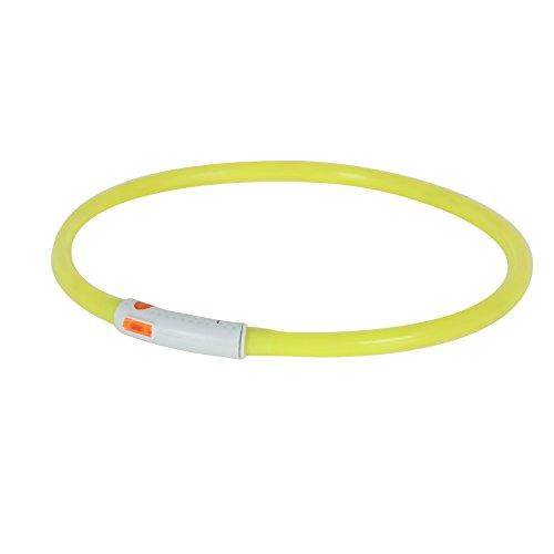 2-TECH LED Visio Leuchthalsband in GELB Deluxe für Hunde und Katzen universell kürzbar, Halsumfang bis 55 cm