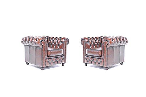 Original Chesterfield Sessel – 1 / 1 Sitzer – Vollständig Handgewaschenes Leder – Antik Braun