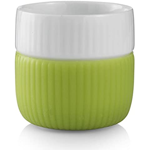 Royal Copenhagen - Tazzine per caffè espresso, con bordo in contrasto, colore: verde, capacità 8 cl