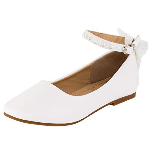 Dorémi Festliche Kinder Mädchen Ballerinas Schuhe mit Zierblume M420ws2 Weiß Perlen 33