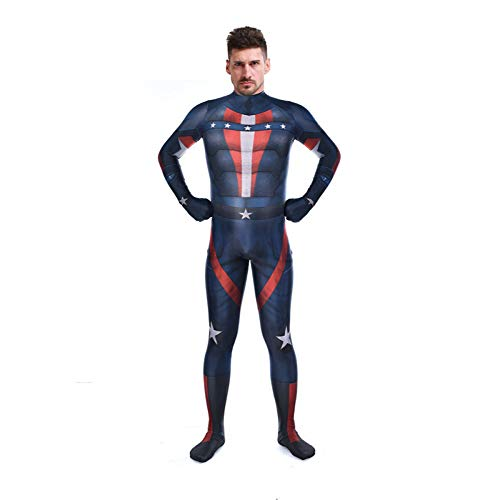 YIWANGO Erwachsener Kind Captain America Kostüm Halloween Kostümball Karneval Party Cosplay Kostüm,Adult-L
