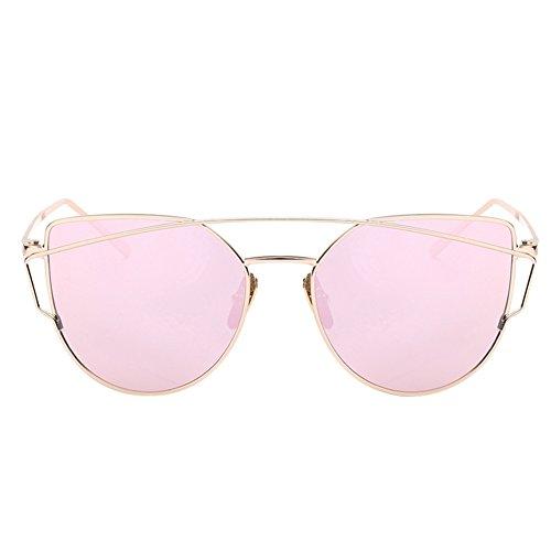 iShine Ojos De Gato Gafas de Sol Espejo Polarizado Lentes Planos Negro