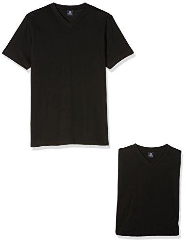 LERROS Herren T-Shirt mit V-Ausschnitt Doppelpack Schwarz (Black 200)