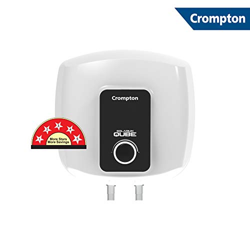 Crompton Solarium Qube 15LTR, 2KW,5 Star-Rated Storage Water Heater (White and Black)