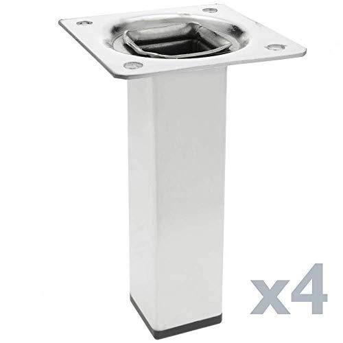 PrimeMatik - Gambe Quadrato. Piedini da Tavolo per mobili e scrivania in Acciaio Cromo 10cm 4-Pack
