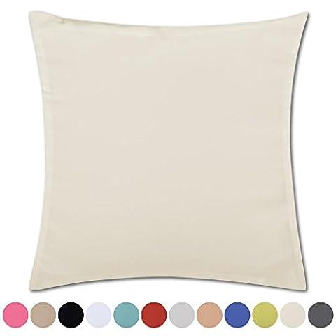 Kissenhülle Kissenbezug Microsatin in über 150 Varianten, Auswahl: ca. 40cm x 40cm beige - creme
