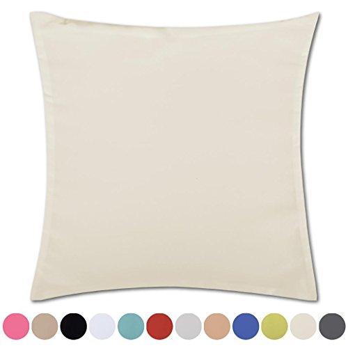 Kissenhülle Kissenbezug Microsatin in über 150 Varianten, Auswahl: ca. 50cm x 50cm beige - creme
