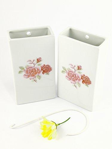 Abc_baño Humidificador de Porcelana Decorada Flor Rosa 2 Unidades