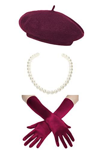 Coucoland Damen Fasching Kostüm Accessoires Set Französischer Stil A Night In Paris Party Inklusive Damen Französisch Barett Velvet Samt Handschuhe Kurze Perlen Halskette - Kostüm Paris Frankreich