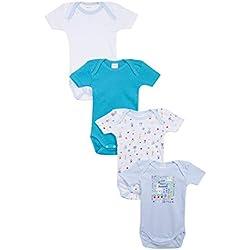 Absorba 6N60186-RA40, Body Lot de 4 , Bébé garçon - Bleu (Cornflower 40) - 12-18 mois (Taille fabricant:18M)