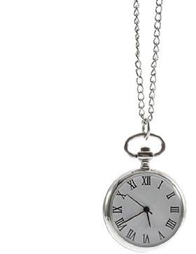 SODIAL(R) Antike Vorwahlknopf Quarz runde Taschenuhr mit Kette mechanische Bewegung haengende Halsketten Uhr Roma...