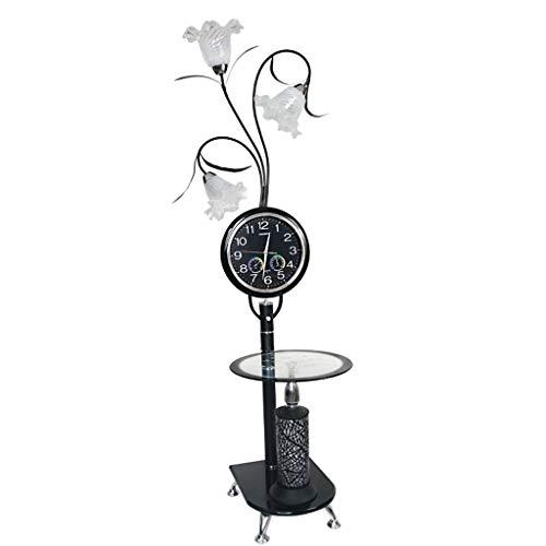 Kreative Uhr Metall Stehleuchte, moderne stilvolle Glas Couchtisch Sofa Schlafzimmer Wohnzimmer Blume Stehleuchte (schwarz + weiß) (Farbe : White light) - Glas-modernen-sofa-tisch