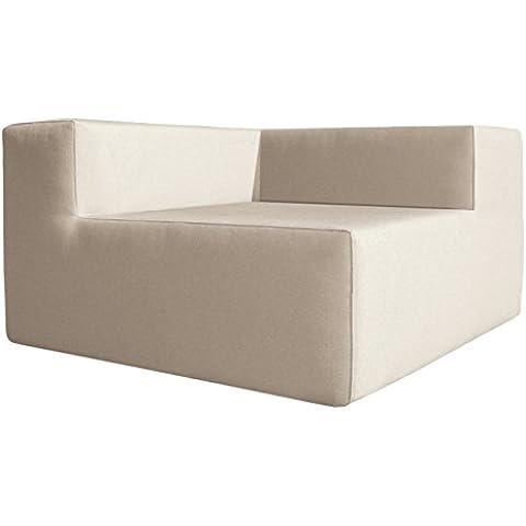 Muebles-exterior Corner medium - Sofa mueble de jardin, tela náutica impermeable, 81 x 81 x 59 cm, color
