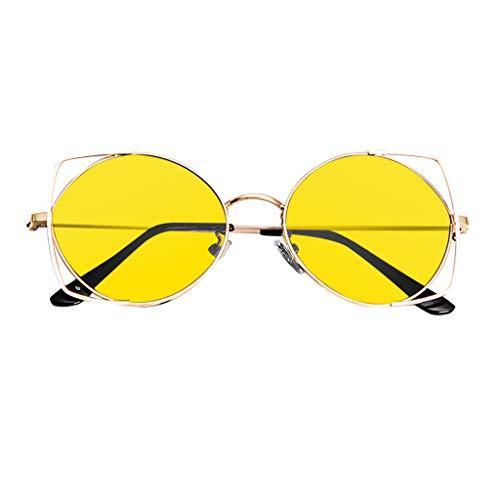 ReooLySonnenbrille für Frauen, verspiegelte Metallrahmen-Sonnenbrille mit flachen Gläsern -