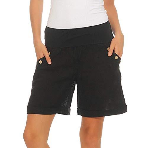 Shorts Damen Sommer Kurze Gestreift Elegant Weites Freizeithosen Mädchen mit Gürtel Locker Fit Control-fit-jeans