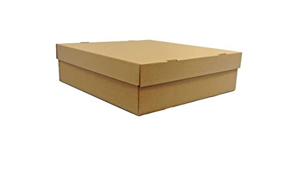 BROWN 25 X BOX AND LID 400mm x 400mm X 125mm