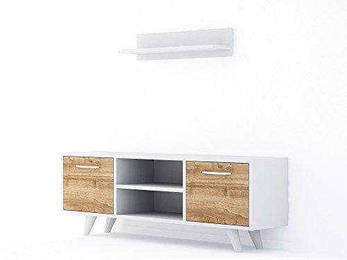Alphamoebel TV Board Lowboard Fernsehtisch FernsehHängeschrank Sideboard, Fernseh Hängeschrank Tisch für Wohnzimmer I Weiß Walnuss I Likya 3937 I 120 x 25 x 41 cm