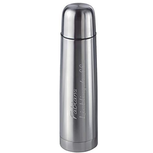 elasto Personalisierte Thermoskanne mit Gravur | Doppelwandige 500ml Isolierflasche mit Becher und Namen für Unterwegs | Perfekt für Kaffee & Tee | Jetzt Kanne Selbstgestalten