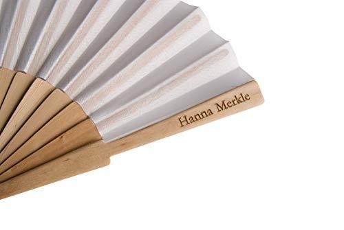 ABANICOS PERSONALIZADOS 10 abanicos con impresión láser en la varilla de madera,...