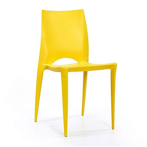 Hx - sedia per sala da pranzo, in plastica, moderna, semplice, per sala da pranzo, impilabile, colore: bianco yellow