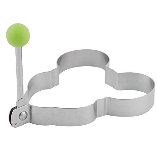 sourcingmap® Grün Silber Ton Küche Edelstahl Plastik Pfannkuchen Braten Ei Form Ring