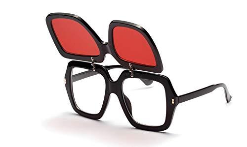 CQYYDD Clip On Flip Up Sonnenbrille Uv400 Men Square Übergroße Big Black Red Yellow Sonnenbrille für Frauen wie im Foto rote Linse Zeigen