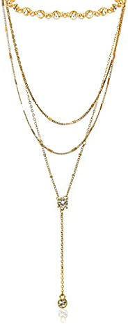 Yellow Chimes Fancy Party Ware Gold Plated Choker Necklace for Women and Girls