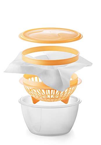 Tescoma. Materiales para el hogar. Set para Hacer quesos cremosos, de plástico Transparente/Amarillo