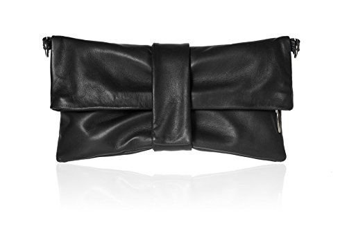 Borsa pochette clutch da donna, vera pelle nera fatto a mano in Italia, con chiusura zip e calamita, con tasca, a tracolla o a mano