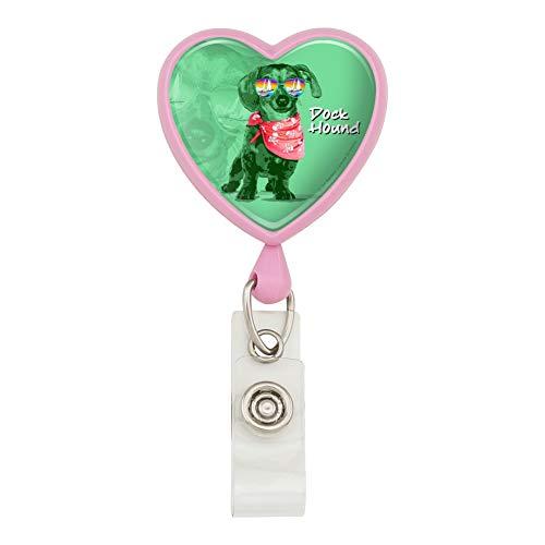 (Dock Hound Dackel Wiener Hund Sonnenbrille Vintage Retro Herz Lanyard Retractable Reel Badge Halter – Pink)