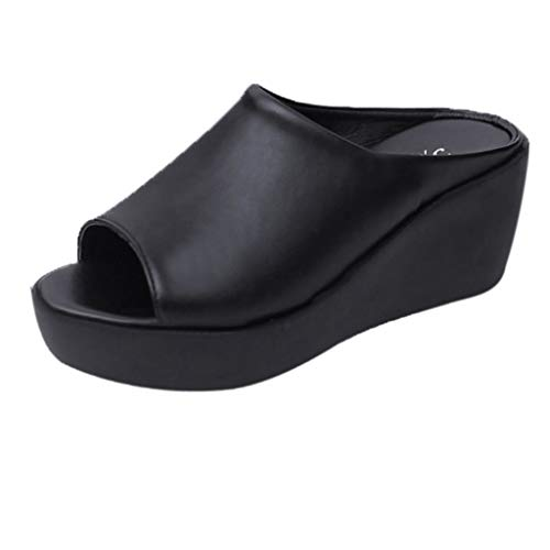 Ears Sommer Damen Mode Freizeit Sandalen Freizeit Rutschfeste Slippers Tuch Schuhe Wedge Römische Schuhe High Heels Running Fitness Erbsenschuhe Fisch Mund Sandalen Dicke untere ()
