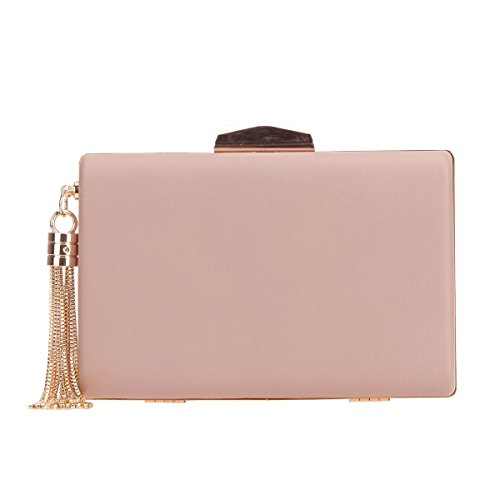 Bonjanvye PU Leather Tassel Clutch Purses for Women Clutches Evening Party Circular Pink -