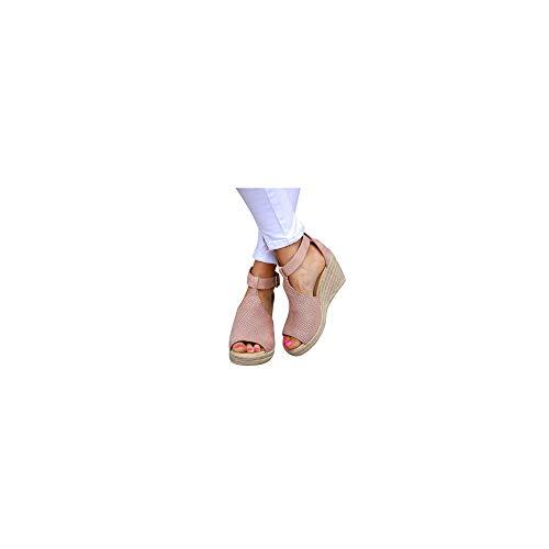 Damen Espadrilles mit Keilabsatz, Plateausohle Sandalen Elegante Sandaletten Frauen Sommer Strandsandalen Bequeme Langlebig Schöne Sommersandalen Celucke