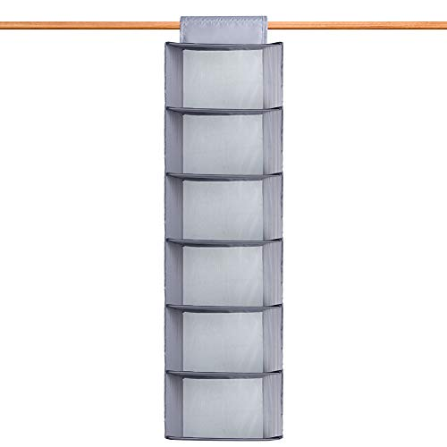 IHOMAGIC Estantería Colgante con 6 apartados Armario Organizador Colgante Plegable de Fibra 210D con Estampado de Puntos Estantes para Colgar organizar artículos de bebé Hanging Shelves 30x122cm